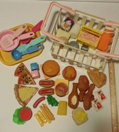 50+ Lot Vintage Fisher Price Pretend Grocery Play Food, KFC Mac & Cheese Burger #FisherPrice