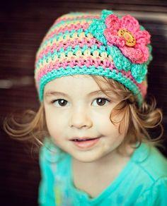 Crochet Beanie with Flower, Crochet Girl Beanie, Crochet Hat, Baby Girl Beanie, Flower Beanie, MADE TO ORDER, Newborn to 3 years. $22.50, via Etsy.