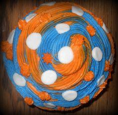 top view of auburn cupcake