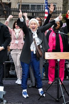 Support: Helen Mirren took part in New York's Women's March on Saturday, insisting the experience was 'amazing'