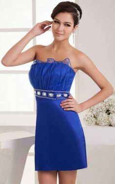 Royal Blue Tight Ruffles Evermiss 1186 Short Strapless Special Occasion Dress