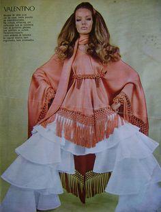 Model Veruschka wearing Valentino. Brazilan Magazine: Claudia, December 1969