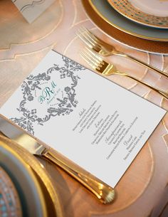 Sophisticated & Elegant DAMASK WEDDING Menu Digital by SweetLex, $35.00