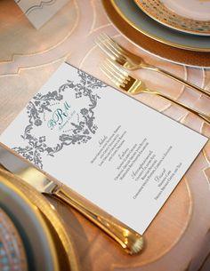 Sophisticated & Elegant DAMASK WEDDING Menu Digital by SweetLex, $35.00