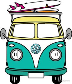 """Hippie Van"" Stickers by jaylajones Bubble Stickers, Phone Stickers, Van Stickers, Van Drawing, Vw T1, Volkswagen Bus, Photo Wall Collage, Surf Art, Aesthetic Stickers"