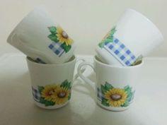 Corning Ware Sunflower Sunsations 8 Oz Cups Set 4Mugs Coffee Tea Sunflowers in Pottery & Glass | eBay
