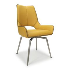 Shop now for yellow leather swivel dining chairs with brushed steel legs not cantilever. You will find plenty of stylish dining chairs that will make you drool. Yellow Dining Chairs, Swivel Dining Chairs, Faux Leather Dining Chairs, Farmhouse Dining Chairs, Eames Chairs, Upholstered Chairs, Arm Chairs, Chair Cushions, Black Chairs