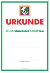 Vorlage Urkunde Billard Meisterschaften | Urkunden-Sport bei formularbox.de