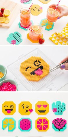Perler beads + emoji = a kid's dream come true. Diy Perler Bead Coaster, Perler Bead Emoji, Perler Coasters, Diy Perler Beads, Perler Bead Art, Pearler Beads, Diy Coasters, Perler Bead Designs, Bead Crafts