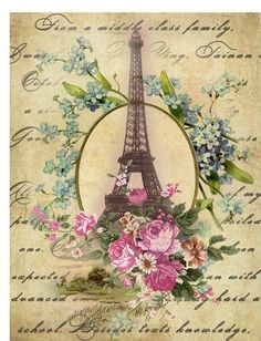 Eiffel Tower blue and pink flowers