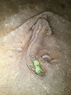 David Zinn chalk art Sluggo & Co. Best Street Art, 3d Street Art, Street Art Graffiti, Street Artists, Graffiti Artists, David Zinn, Chalk Artist, Artist Art, Chalk Pictures