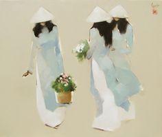 Blue flowers by Vietnamese Artist Nguyen Thanh Binh