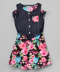 Look what I found on #zulily! Denim & Floral A-Line Dress - Toddler & Girls #zulilyfinds
