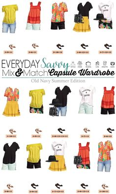 Old Navy Summer Capsule Wardrobe includes shorts, graphic tee, off the shoulder top and more. These pieces make 15 mix and match outfits. via @everydaysavvy