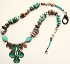 Maggies Beadery Aqua/Green and Gray Beaded Necklace With Floral Pendant