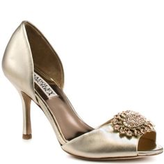 Badgley Mischka Women's Lacie Open-Toe Pump,Platinum,5.5 M US -- Want additional info? Click on the image.
