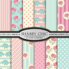 $4 - 12 printable shabby chic backgrounds with blue and pink roses, stripes and polka dots in vintage tones. #shabbychic #scrapbooking #etsy #digitalpaper #cardmaking #wedding