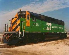 Black/Orange Tiger Striped BN GP50 # 3158 Railroad Pictures, Burlington Northern, Train Times, Train Art, Train Pictures, Train Engines, Train Tracks, Locomotive, Railroad Tracks