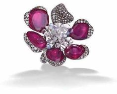 Anna Hu Ruby and diamond orchid ring - another piece by Anna Hu #engagementrings #jewelry #pricepointshop