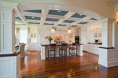 Dream Big Homes...love the openness, floors, and coffered ceiling but too much white! Black would work better for my style