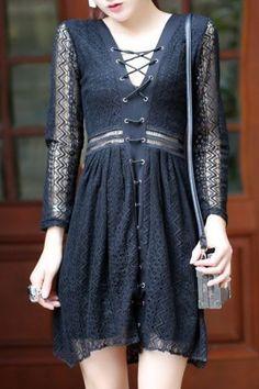 black lace dress| $15.60  dark mori kei strega goth nu goth pastel goth fachin dress lace under20 under30 sammydress