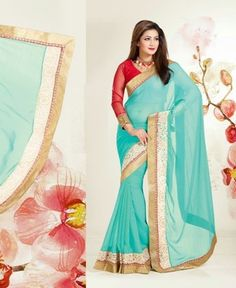Picture of Foxy Sky Blue Georgette Sarees