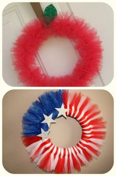 Apple Tulle Wreath ~ A darling tulle wreath tutorial that's perfect for back to school or a teacher appreciation gift. Tulle Crafts, Wreath Crafts, Diy Wreath, Diy And Crafts, Wreath Ideas, Moss Wreath, Candy Wreath, Felt Wreath, Wreath Burlap