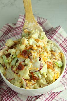 Loaded Cauliflower, Cauliflower Salad, Cauliflower Recipes, Vegan Recipes Easy, Low Carb Recipes, Diet Recipes, Cooking Recipes, Veggie Dishes, Vegetarian