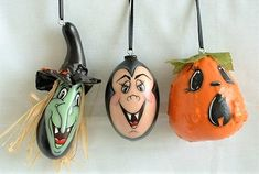 Set of 3 Mini Jack-O-Lanterns, Witch & Dracula Halloween Ornaments - Hand Painted Gourds Halloween Gourds, Halloween Ornaments, Christmas Ornaments, Hand Painted Gourds, Hand Painted Ornaments, Gourds Birdhouse, Jack O, Halloween 2020, Black Ribbon