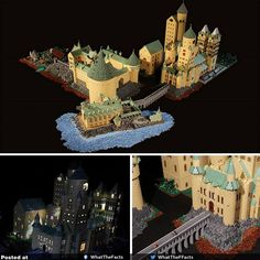 A woman built this replica of Hogwarts in one year using over Legos Lego Hogwarts, Lego Worlds, Lego Architecture, Lego Harry Potter, Lego Building, Legos, Geek Stuff, Concept, Bricks