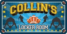 Football Locker Room Sign for Kids with Football Player Silhouettes