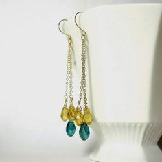 Teal and yellow earrings Long crystal earrings by nikkimcl on Etsy,