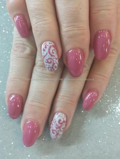 Pink damask gel polish with swirl freehand nail art