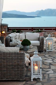 outdoor patio with a view of the lake