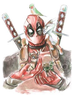 #Deadpool #Fan #Art. (Deadpool and Co) By: Kurokato. (THE * 5 * STÅR * ÅWARD * OF * MAJOR ÅWESOMENESS!!!™) [THANK U 4 PINNING!!!<·><]<©>ÅÅÅ+(OB4E)    https://s-media-cache-ak0.pinimg.com/564x/51/31/46/513146ee5c5075ad9f38babe4ed4d41e.jpg