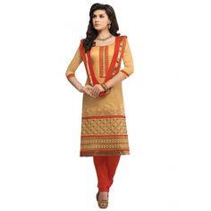 Beige Banaras #Designer Churidar Suits With Dupatta #Salwarkameez