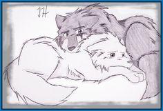 Wolf comfort by firewolf anime on deviantart. Cute Wolf Drawings, Easy Drawings, Animal Drawings, Pencil Drawings, Anime Wolf Drawing, Human Drawing, Anime Sketch, Wolf Love, Anime Animals