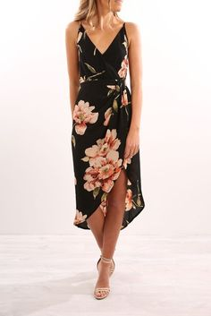 Kalene Dress Black Print And Floral, dress, clothe, women's fashion, outfit inspiration, pretty clothes, shoes, bags and accessories