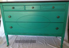 Recreated Creations turquoise blue dresser
