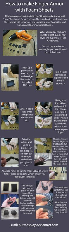 How to make finger armor using foam sheets. They are a little bulky, but the end result is really good for lightweight armor pieces.