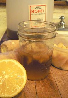 Honey Lemon Cough & Cold Syrup    1/2 c. Raw Honey  Half a lemon  2 fresh or frozen garlic cloves- don't use the pre-minced stuff.  It's lost its strong medicinal properties.  a chunk of fresh or frozen ginger* (optional)