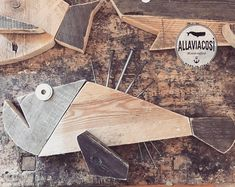 Fish Wall Decor, Fish Wall Art, Wood Wall Decor, Fish Art, Wooden Ship, Wooden Wall Art, Kitchen Decor Signs, Wood Block Crafts, Pallet Art