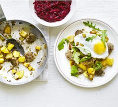 Scandi-style sausage hash with pickled beetroot