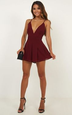 Sexy fashion dresses - Non Stop Dancer Playsuit In Wine Produced – Sexy fashion dresses Hoco Dresses, Sexy Dresses, Cute Dresses, Dresses For Work, Summer Dresses, Wedding Dresses, Awesome Dresses, Sparkly Dresses, Red Homecoming Dresses