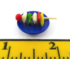 PLAYMOBIL~Miniature~Dollhouse~Blue Plate~Vegetable & Meat Shish Kabob~Grill~PC #PLAYMOBIL