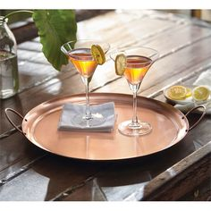 You'll be in good company with this sleek, large copper serving tray. Part of the Bungalow collection its looks great with whites, blues and wood and mixes well with modern and rustic décor. The loop handles make it easy to pick up and carry Copper Tray, Metal Trays, Mud Pie Gifts, Drinks Tray, Wedding Shower Gifts, Good Company, Hostess Gifts, Home Gifts, Rustic Decor