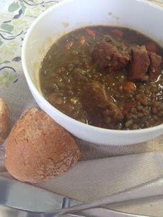 Lentejas con costilla adobada / Lentils Soup with Pork Ribs, from Blue Cuisine