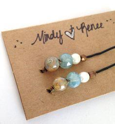 Blue Beaded Bobby Pins Glass bead Hair pins by MindyReneeCreation