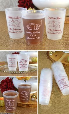 Serving refreshing fresh pressed apple cider at your fall wedding reception in 16 ounce frosted flex cups personalized with an autumn theme design, the bride and groom's name and wedding date. Reusable plastic cups make useful guests gifts everyone can take home as souvenirs of your wedding day. These cups can be ordered at http://myweddingreceptionideas.com/personalized-fall-design-frosted-plastic-cups.asp