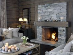 Fireplace Bookshelves, Home Fireplace, Fireplaces, Chalet Design, House Design, Cabin Homes, Log Homes, Building A Cabin, House Of Beauty